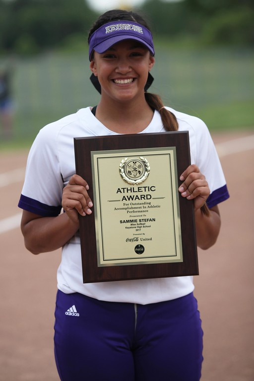 . Randy Meyers - The Morning Journal<br> Keystone\'s Sammie Stefan is named Miss Softball for 2017 season at the Lorain County Senior All-Star Game on June 5.