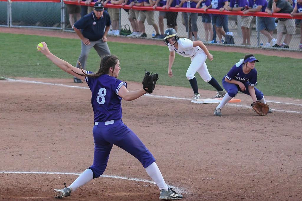 . Eric Bonzar�The Morning Journal<br> Keystone \'s Lauren Shaw pitched five innings, giving up seven hits and five runs, in the Wildcats\' D-II state semifinal loss against the Akron Hoban Knights, June 2, 2017.