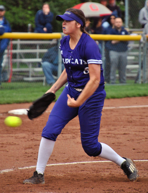 . Jon Behm - The Morning Journal<br> Keystone senior Lauren Shaw pitches during the bottom of the fifth inning against Napoleon during a Division II Tiffin Region semifinal on May 25. Shaw had six strikouts in her complete game victory.
