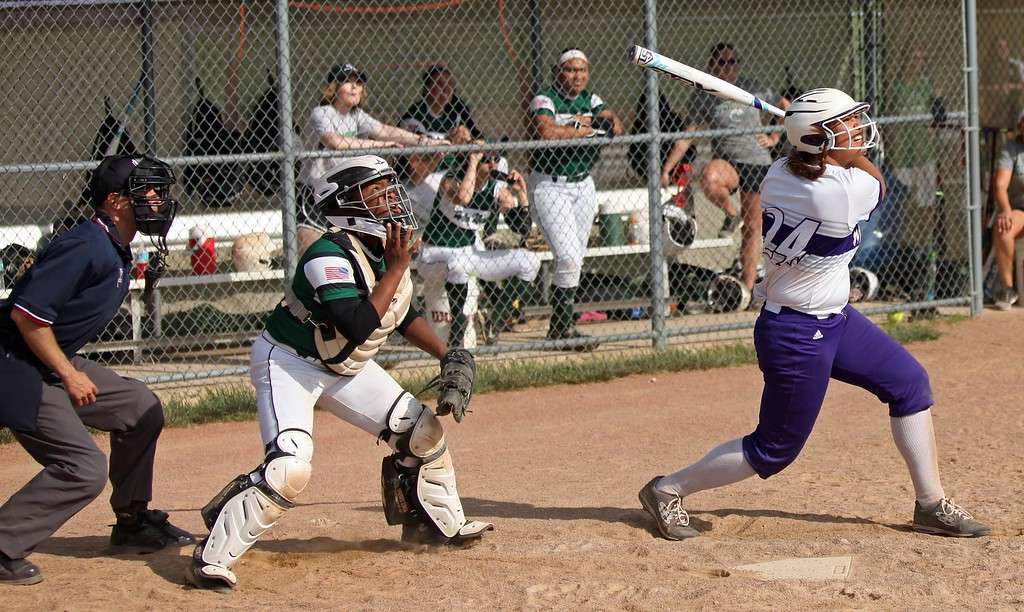 . Randy Meyers - The Morning Journal<br> Keystone\'s Sammie Stefan watches her hit cut foul against Holy Name on May 18.