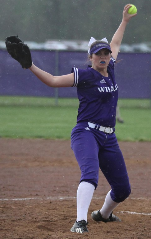 . Randy Meyers - The Morning Journal<br> Keystone pitcher Lauren Shaw delivers a pitch against Perry in the fifth inning amid the raindrops on April 28.