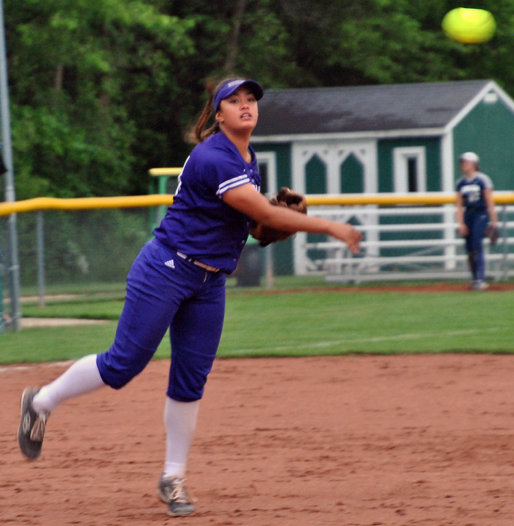 . Jon Behm - The Morning Journal<br> Keystone senior Sammie Stefan throws to first during the bottom of the fifth inning against Napoleon during a Division II Tiffin Region semifinal on May 25.