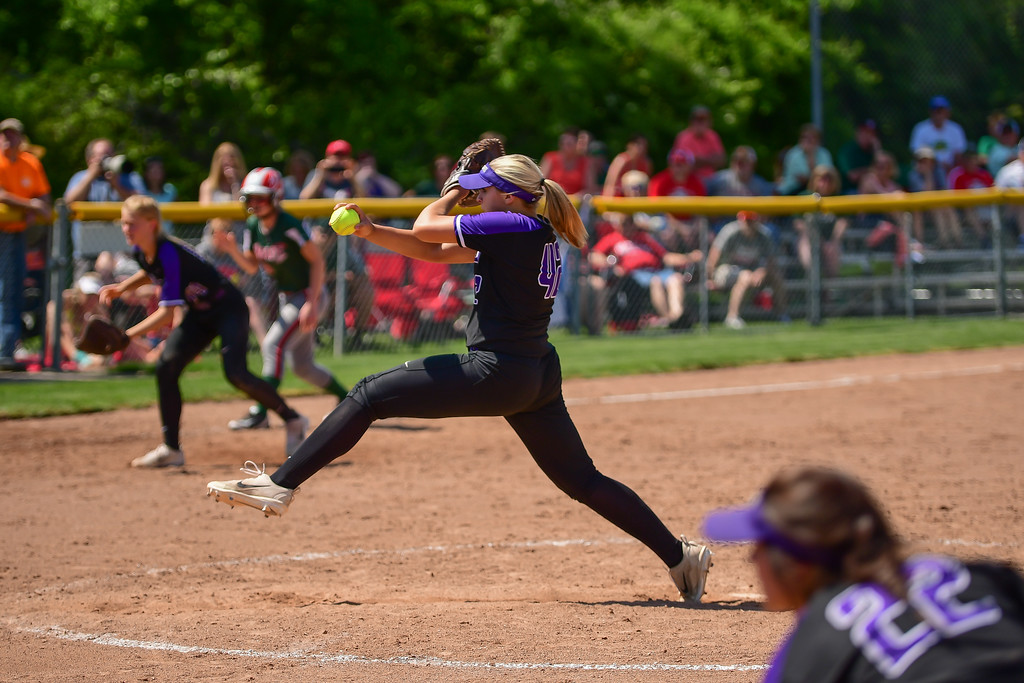 . Eric Bonzar�The Morning Journal<br> Keystone pitcher Sydney Campbell delivers strike three, for out number three, as the Wildcats knock off the Oak Harbor Rockets 4-1, May 24, 2018.
