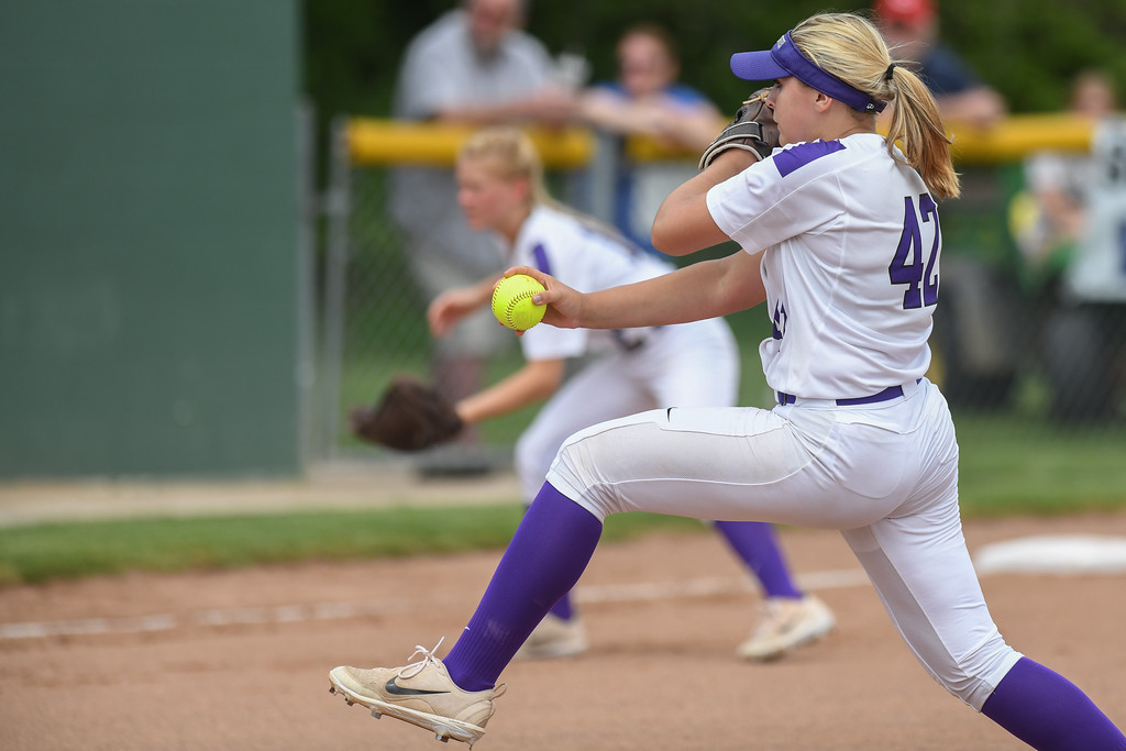 . Eric Bonzar�The Morning Journal<br> Keystone junior Sydney Campbell pitched the Wildcats to an 8-2 win over the Defiance Bulldogs, and a trip to the schools\' 17th state final four appearance, May 26, 2018.