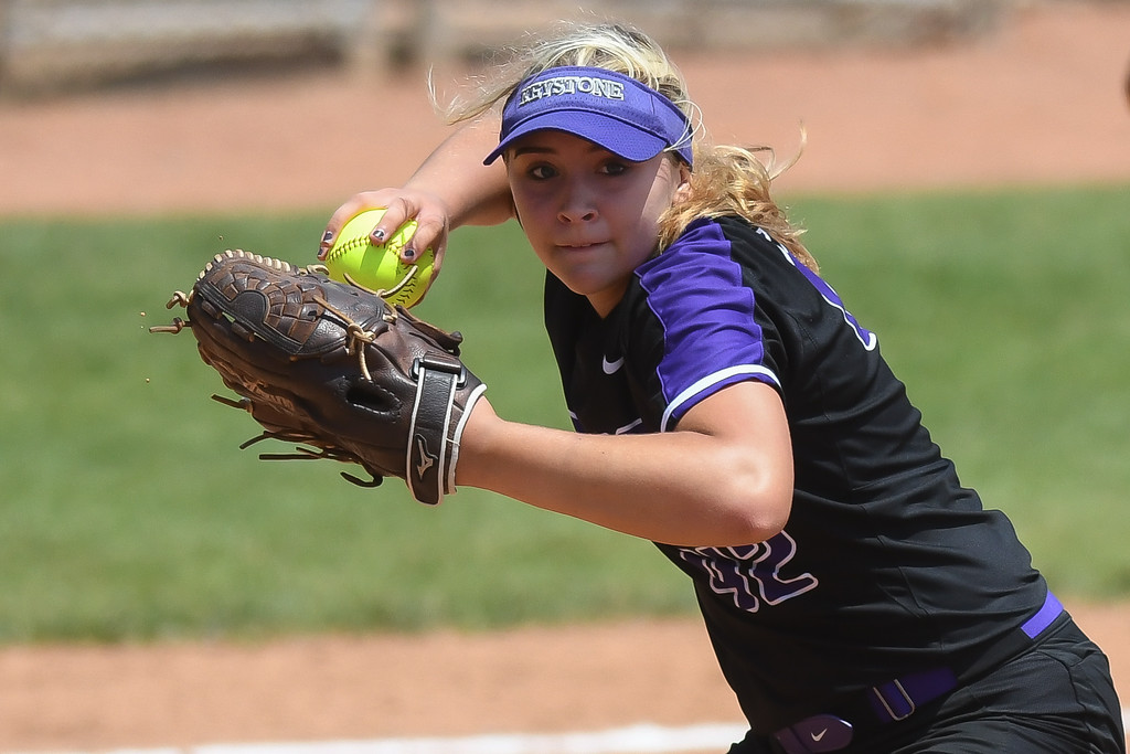. Eric Bonzar�The Morning Journal<br> Keystone pitcher Sydney Campbell throws to first base for an out, May 31, 2018. Campbell pitched a complete game, giving up just two hits and no runs. The junior struck out six and walked one in the Wildcats\' 1-0 win over the Fairfield Union Falcons.
