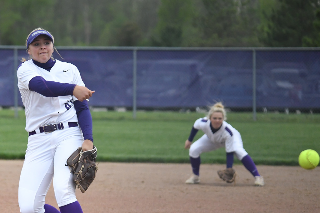 . Eric Bonzar�The Morning Journal<br> Keystone pitcher Sydney Campbell only gave up two hits in the Wildcats\' 21-0 win over the Rocky River Pirates, May 11, 2018.