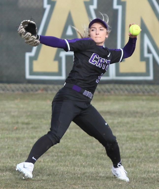 . Randy Meyers - The Morning Journal<br> Keystone centerfielder Marlie McNulty makes a throw to the infield against Amherst on March 26.