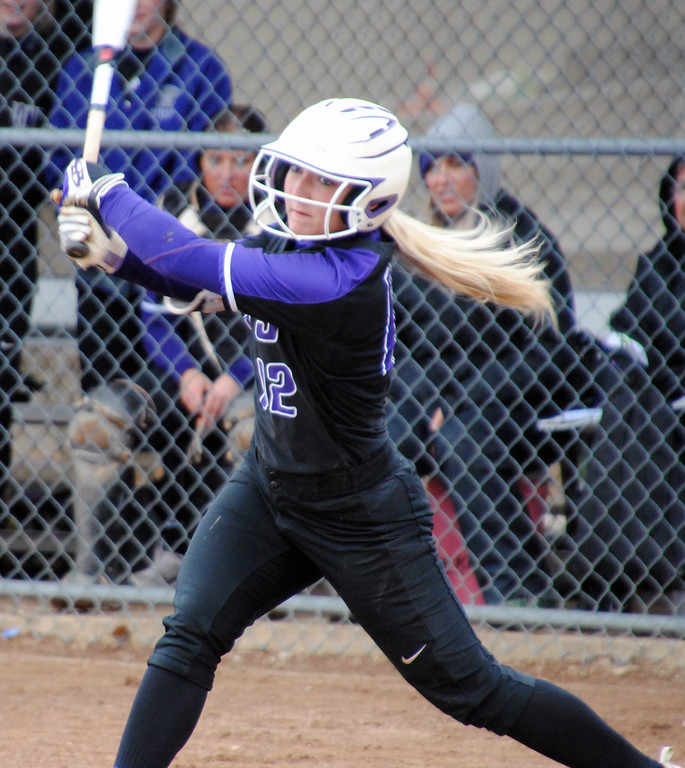 . Jon Behm - The Morning Journal<br> Keystone\'s Marlie McNulty watches the flight of her hit against Midview at LaGrange Community Park during the Prebis Memorial Classic on April 28.