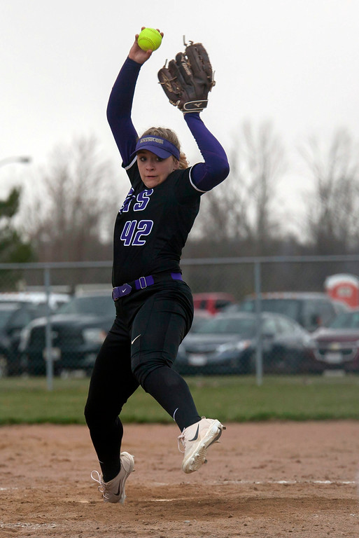 . Jen Forbus - The Morning Journal<br> Keystone pitcher Sydney Campbell throws against Akron SVSM on April 14.