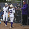 Eric Bonzar—The Morning Journal<br> Keystone's Madi Nunez (2) celebrates a run scored with teammate Marlie McNulty, May 11, 2018. Nunez had four home runs and and seven RBIs in the Wildcats' 21-0 win over the Rocky River Pirates.