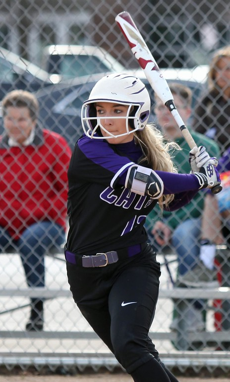 . Randy Meyers - The Morning Journal<br> Keystone\'s Marlie McNulty eyes the pitch against Amherst during the fourth inning on March 26.