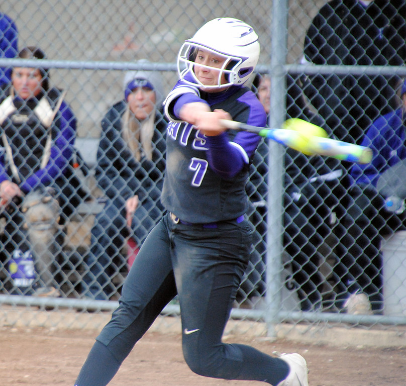 . Jon Behm - The Morning Journal<br> Keystone\'s Autumn Acord connects with a pitch against Midview at LaGrange Community Park during the Prebis Memorial Classic on April 28.