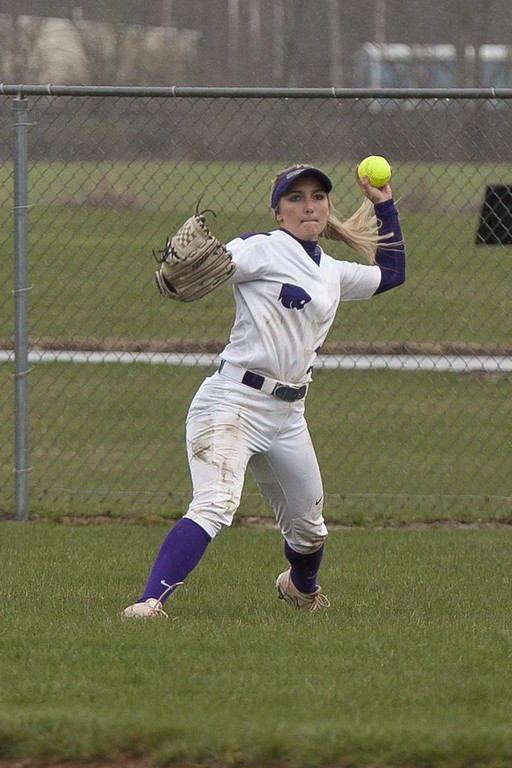 . Jen Forbus - The Morning Journal<br> Keystone\'s Marlie McNulty slings the ball back to the infield against Wellington on April 24.