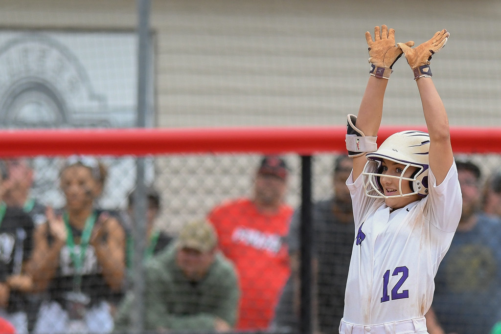 . Eric Bonzar�The Morning Journal Keystone\'s Marlie McNulty celebrates her RBI in the top of the 12 inning against Beloit West Branch on June 2.