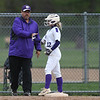 Eric Bonzar—The Morning Journal<br> Keyston's Marlie McNulty celebrates a triple with Head Coach Jim Piazza, May 11, 2018.