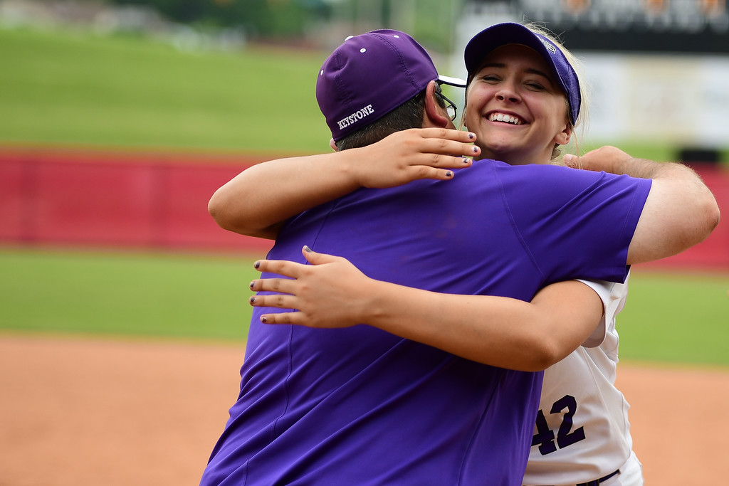 . Eric Bonzar�The Morning Journal<br> The Keystone Wildcats capped off a 34-0 season and captured their fourth Division II state championship title, in school history, with a 12 inning, 3-2 win over the Beloit West Branch Warriors, June 2, 2018.