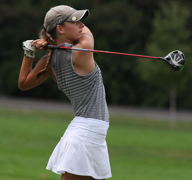 Randy Meyers - The Morning Journal<br /> Avon Lake's Paighton Masterson watches her drive off of the 5th tee during the OGGF Showcase on Monday