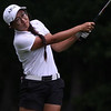 Randy Meyers - The Morning Journal<br /> Rocky River's Iris Shin hits her approach onto the 9th green during the OGGF Showcase on Monday at the Avon Oaks Country Club