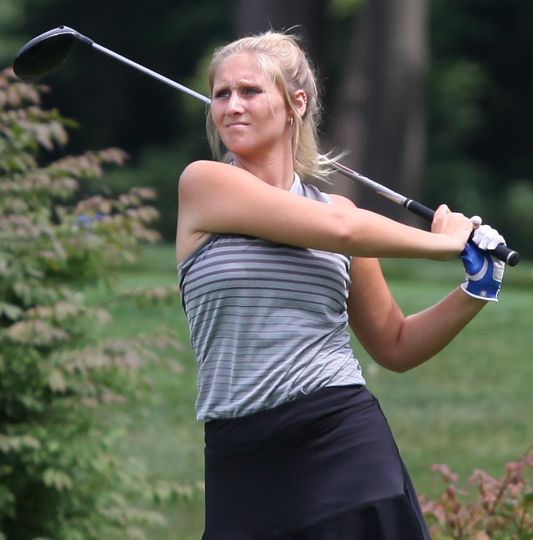 . Randy Meyers - The Morning Journal Emma Davies of Avon Lake watches her drive off of the 3rd tee during the 2018 OGGF Showcase on Monday at the Avon Oaks Country Club