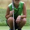 Randy Meyers - The Morning Journal<br /> Maddie Debnar of Medina looks at the layout of the green on the 4th hole during the OGGF Showcase on Monday