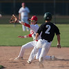 Jen Forbus - The Morning Journal<br> Elyria second baseman Kevin Reddinger takes the throw to get Amherst baserunner Dylan Bailey out on July 25.