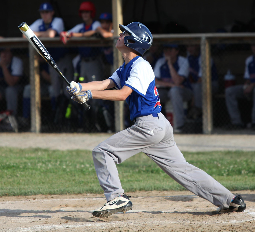 . Randy Meyers - The Morning Journal Bay\'s Nate Rosenhaus pops it up against Keystone on Thursday during the Amherst summer classic
