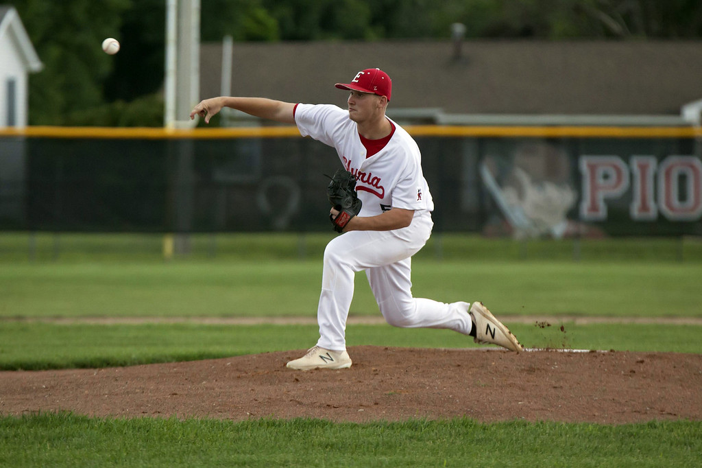 . Jen Forbus - The Morning Journal On the mound for Elyria, Chris Willis delivers a pitch.