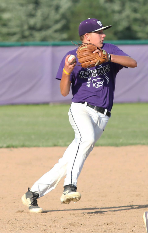 . Randy Meyers - The Morning Journal Keystone shortstop Sean Saterlee fields a ground ball and throws to first for the out against Bay on Thursday