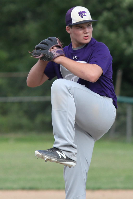 . Randy Meyers - The Morning Journal Keystone\'s Kyler Yusko delivers a pitch against Bay during the first inning on Thursday at the Amherst Summer Classic
