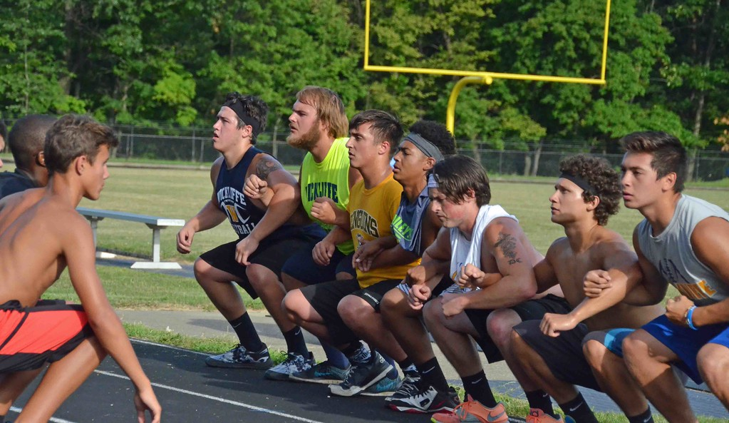 . Paul DiCicco - The News-Herald Devil Dog Soldiers squatted over 500 times while during a mile run in the heat preparing for another successful season.