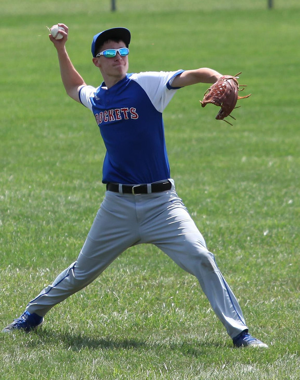 . Randy Meyers - The Morning Journal Bay left fielder Carter Good relays a base hit by Elyria on Saturday at the Amherst Summer Classic