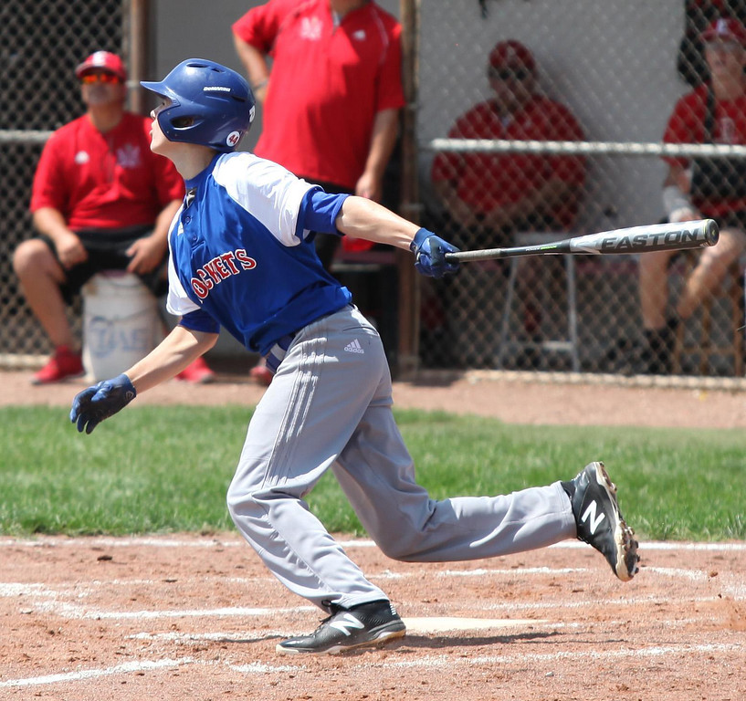 . Randy Meyers - The Morning Journal Bay\'s Jack Sutherland flies out to right against Elyria on Saturday at the Amherst Summer Classic