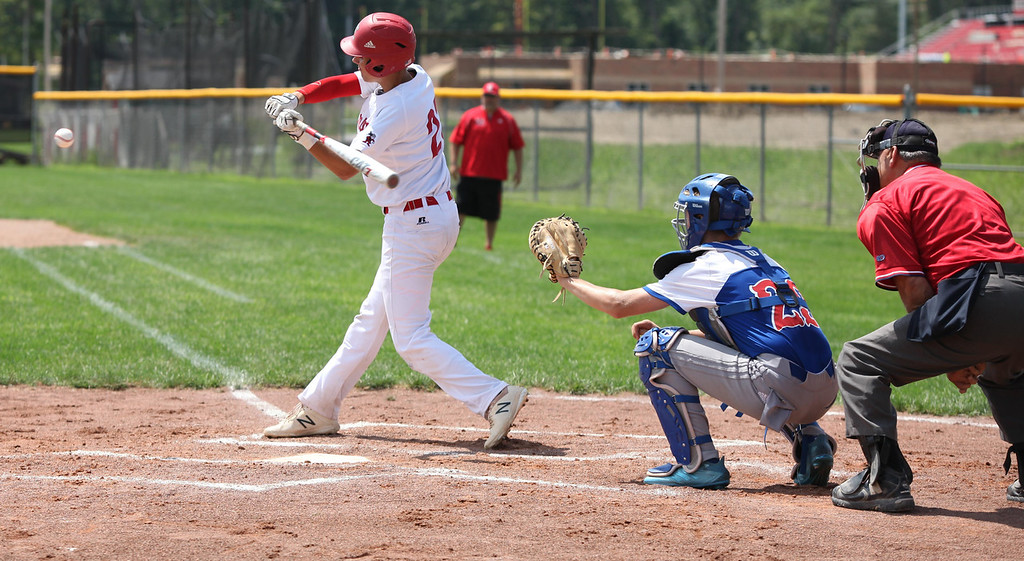 . Randy Meyers - The Morning Journal Elyria\'s Hunter Osborne times up a pitch to hit against Bay on Saturday during the Amherst Summer Classic