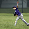 Jen Forbus - The Morning Journal<br /> Keystone center fielder Nate Archer whips the ball back from the outfield.