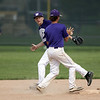 Jen Forbus - The Morning Journal<br /> Keystone second baseman Matt Mealwitz makes the play at second and tosses the ball to short stop Cameron Emerick who makes the throw to first in time for the second out.