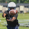 Eric Bonzar—The Morning Journal<br> Titans wide receiver Ashaun Barker runs short passing routes during the first day of practice, July 31, 2017.