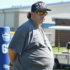 "Eric Bonzar—The Morning Journal<br> Clearview equipment Manager Mike ""Mad Dog"" D'angelo keeps an eye on the Clippers' first day of practice, July 31, 2017."