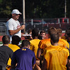 Jon Behm - The Morning Journal<br /> Avon coach Mike Elder talks with his team after the first half of practice on Aug. 1.