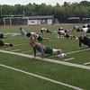 The Lake Catholic football team has added yoga to its training regimen. (John Kampf, The News-Herald)