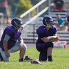 Jen Forbus - The Morning Journal<br> Members of the Keystone defensive line wait for St. Paul Norwalk's offense to come to the line of scrimmage on Aug. 11.
