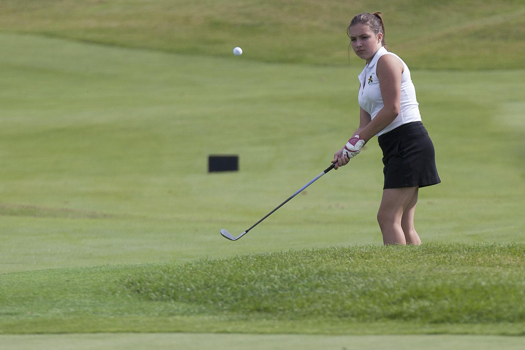 . Jen Forbus - The Morning Journal Addisyn Spakes of Amherst takes a shot during the SWC girls preview at Gray Hawk.