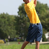 Randy Meyers - The Morning Journal<br /> Ethan Herminsky of North Ridgeville  hits his tee shot during the SWC preview on Wednesday in Norwalk