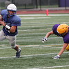Randy Meyers - The Morning Journal<br> Bruswick running back Dakota Lavender turns the corner against the Avon defense for a gain during a scrimmage on Aug. 16.