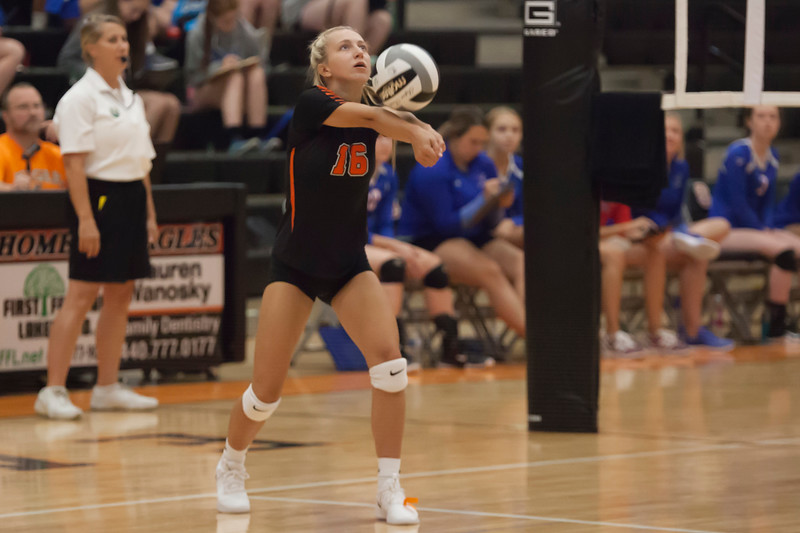 Jen Forbus - The Morning Journal<br> North Olmsted's Eve Kobak bumps the ball during the Eagles game against the Bay Rockets on Aug. 18.