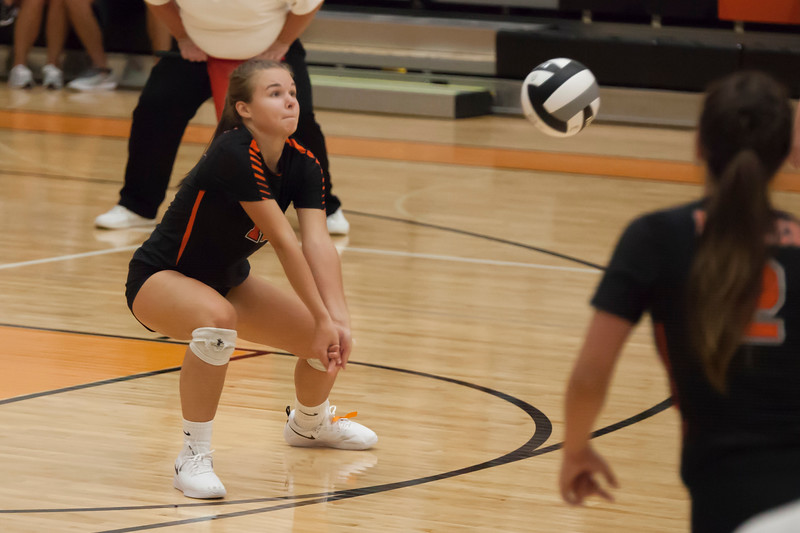 Jen Forbus - The Morning Journal<br> North Olmsted's Jessica Yelsik positions herself to bump the ball on Aug. 18.