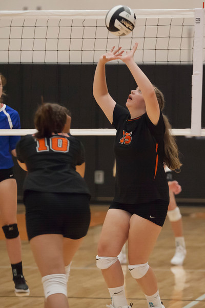 Jen Forbus - The Morning Journal<br> North Olmsted's Natalie Kennedy sets the ball during the Eagles' game against the Bay Rockets on Aug. 18.