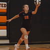 Jen Forbus - The Morning Journal<br> North Olmsted's Jessica Yelsik serves the ball to Bay on Aug. 18.