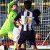 Randy Meyers - The Morning Journal<br /> Olmsted Falls goalkeeper Max  Kasputis deflects a kick at the goal by Avon's Jin Nakano during the first  half on Wednesday