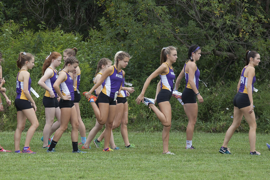 . Jen Forbus - The Morning Journal  The Avon girls cross country squad stretches before the start of the SWC Preview at Lorain County Community College.