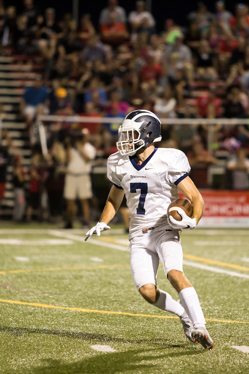 . Carrie Garland - The News-Herald Frank DiPaola on a punt return for West Geauga.